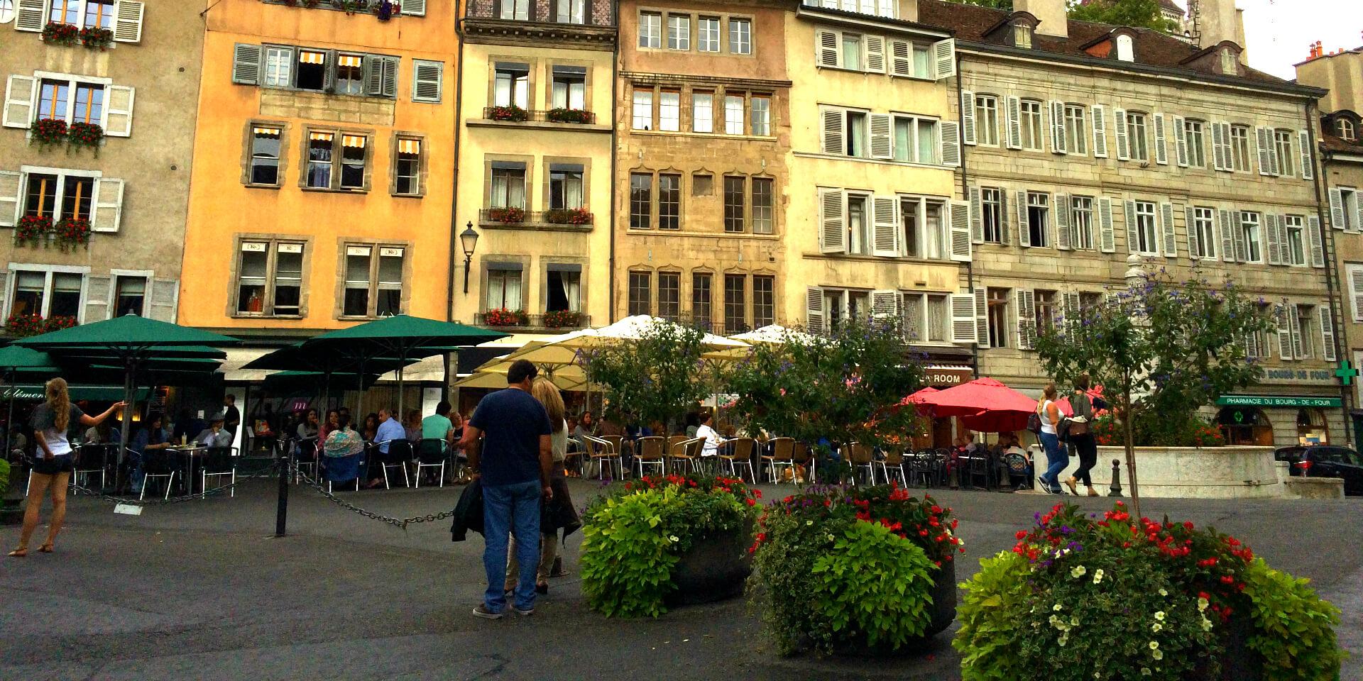 La Place du Bourg-de-Four, la plus ancienne de Genève, Suisse.